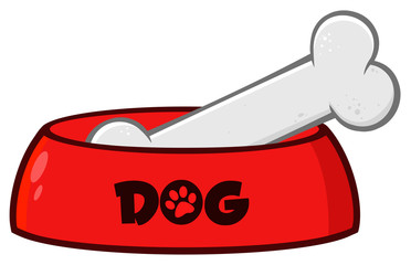 Red Dog Bowl With Animal Food And Bone Drawing Simple Design. Illustration Isolated On White Background