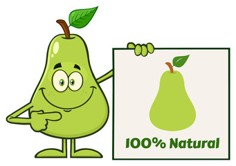 Green Pear Fruit With Leaf Cartoon Mascot Character Pointing To A Sign With Text.Illustration Isolated On White Background