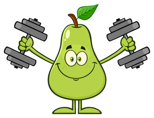 Smiling Green Pear Fruit With Leaf Cartoon Mascot Character Working Out With Dumbbells.  Illustration Isolated On White Background