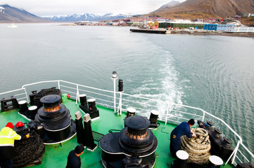 Expedition Ship on Longyearbyen Coast - Svalbard