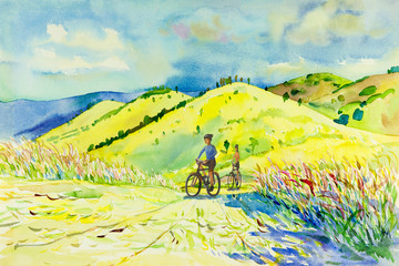 Painting watercolor landscape of mountain hill and man,woman.