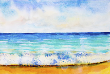 Watercolor seascape painting colorful of sea view,beach.