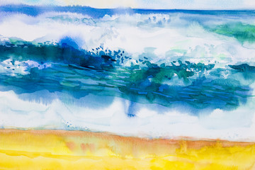 Watercolor seascape painting colorful of sea view,beach, wave.