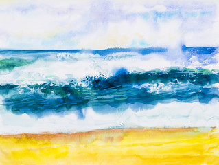Watercolor seascape painting colorful of sea view,beach wave.