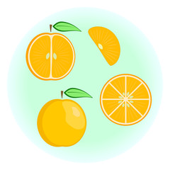 Flat vector orange set - fruit split in a half along and across, fruit circle and wedge, a slice or a segment of an orange. Cute colorful summer fruit