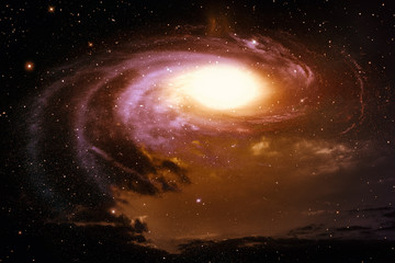 Space with nebula and galaxy.