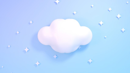 Cute white clouds and stars. Blue pastel color background. 3d render picture.