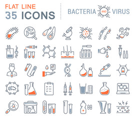 Set Vector Flat Line Icons Bacteria and Virus