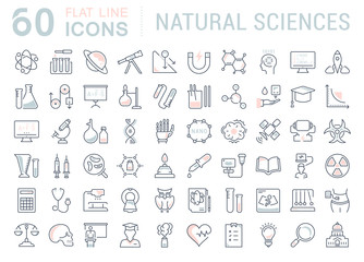 Set of Line icons of natural history