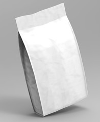 Blank white Foil Or Paper Food Stand Up Pouch Snack Sachet Bag Packaging. 3d render Illustration Isolated On White Background. Mock Up, Mockup 3d Template Ready For Your Design