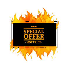 Template design horizontal banner with Special sale. Black rectangular card for hot offer with frame fire graphic. Advertising poster layout with flame border on white background. Vector.