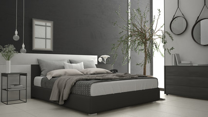Modern bedroom with window, chest of drawer and big olive tree, concrete wall, minimalist interior design