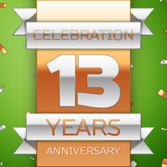 Realistic Thirteen Years Anniversary Celebration Design. Silver and golden ribbon, confetti on green background. Colorful Vector template elements for your birthday party. Anniversary ribbon