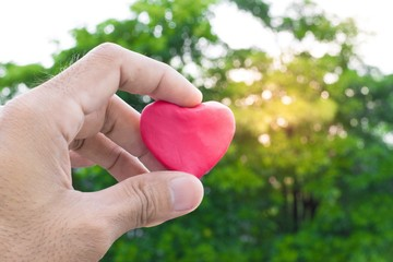A man holding a heart shaped clay on a tree bokeh that blurred the backdrop.  using the wallpapers or background. Use the  lifestyle image project image and care work.