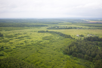 Aerial photography. Aerial view over the rural landscape in Russia