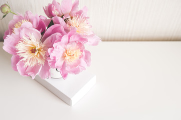 Bouquet of peonies,  photo in gentle colors. Good morning. Have a nice day! Place for text