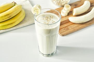 Wall Murals Milkshake Milkshake with banana and oatmeal , healthy breakfast