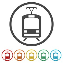 Streetcar, Train icons set