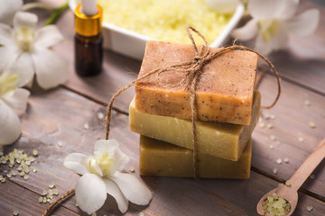 Handmade Soap with Flower branch. Spa products.