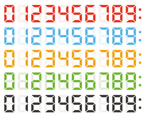 Vector set of led digital numbers on white background
