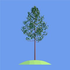 a tree on blue background
