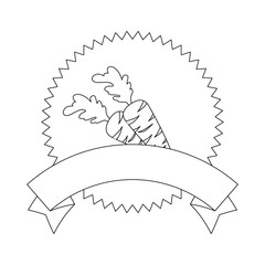 seal stamp with carrots icon over white background vector illustration