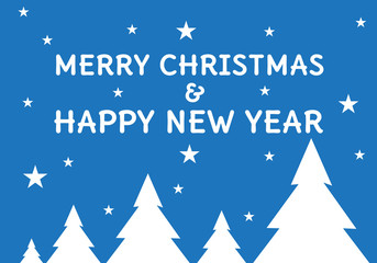 Merry Christmas and Happy New Year text white on blue design for holiday festival countdown night party vector illustration.