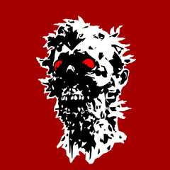 The head of the monster character with a torn face. Vector illustration.