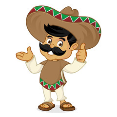Mexican man cartoon presenting