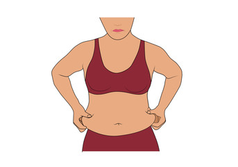 Woman with fat belly