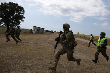 """U.S. army soldiers take part in """"Peace Sentinel 2017"""", a joint military drill together with Serbian and Bulgarian soldiers at Koren military training ground"""
