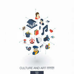 Culture, art integrated 3d web icons. Digital network isometric interact concept. Connected graphic design dot and line system. Background for theater artist, music, circus show bill. Vector on white.