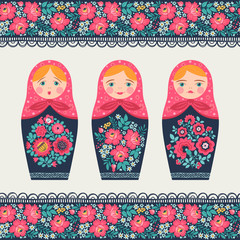 Set of illustrations with a Russian doll and seamless border. Matryoshka. Different emotions