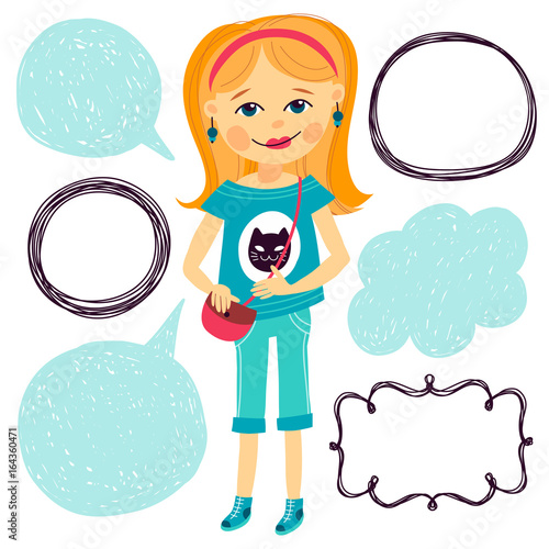 Illustration With Young Girl And Frames For Text Cartoon Style Template Greeting Card
