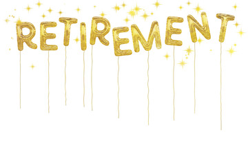 Gold foil retirement party style balloons. White background.