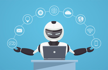 Chat bot, robot virtual assistance. Robot sits behind a laptop with help icons around it. Artificial intelligence concept online.