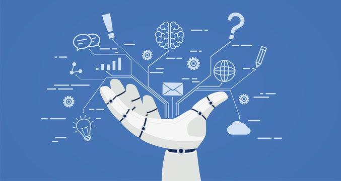 Chat bot, robot hand with icons. Artificial intelligence concept online.