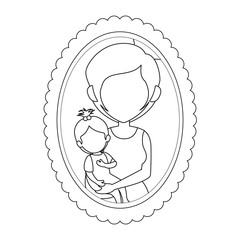 frame with mother and daughter picture icon over white background vector illustration
