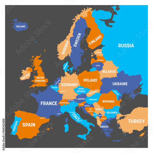 Political map of Europe continent in four colors with white country ...