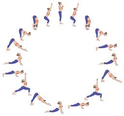 Sun salutation. Surya namaskara B. Yoga sequence.