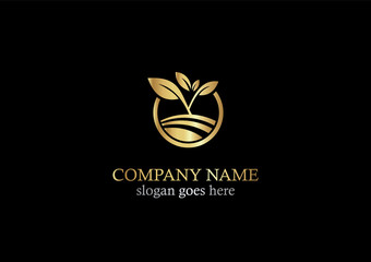 gold seed plant nature logo