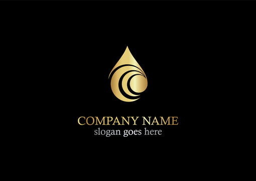 droplet abstract gold logo
