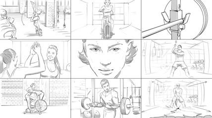 Gym fitness storyboard