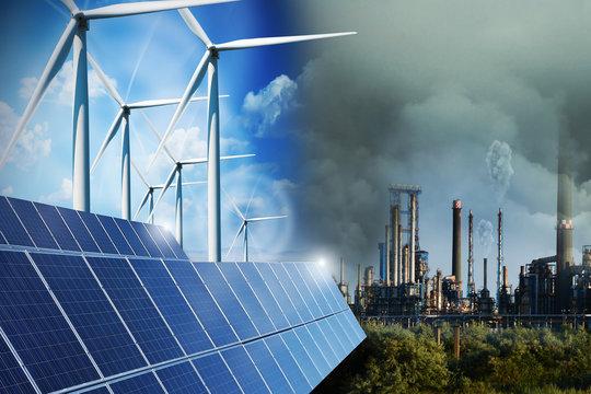 Polluting industry versus green energy