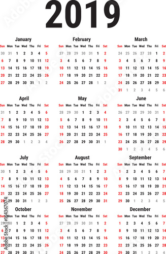 Calendar Of 2019 Stock Image And Royalty Free Vector Files On