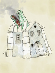 A old style country house with the roof broken by a monster. Illustration