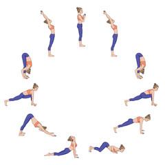 Sun salutation. Surya namaskara. Yoga sequence.