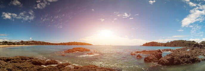 Panorama of the rocky sea shore in New Zealand