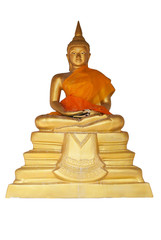 The golden Buddha on a white background