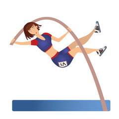 Female Pole vaulting. Woman vaulter, sportswoman. Vector illustration, isolated on white background